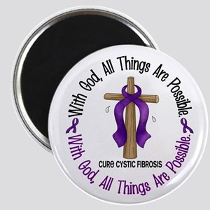 With God Cross Cystic Fibrosis Magnet