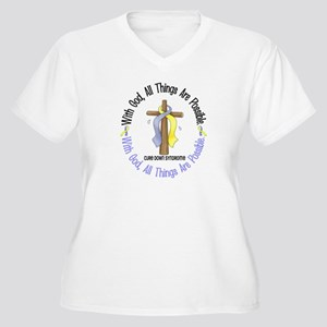 With God Cross DOWNS Women's Plus Size V-Neck T-Sh