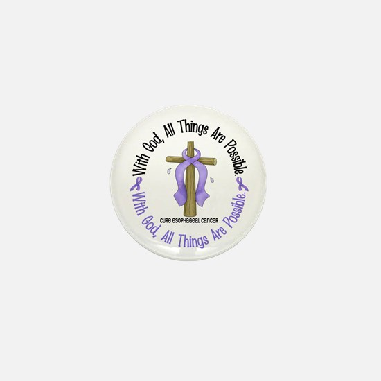 With God Cross Esophageal Cancer Mini Button