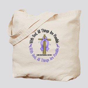 With God Cross Esophageal Cancer Tote Bag