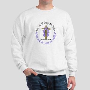 With God Cross Esophageal Cancer Sweatshirt