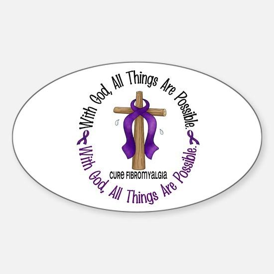 With God Cross Fibromyalgia Oval Decal