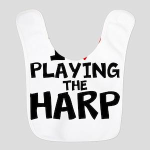I Love Playing The Harp Polyester Baby Bib