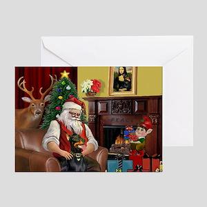 Santa's Dobie (Bz) Greeting Cards (Pk of 10)