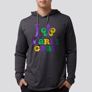 I Love Mardi Gras Mens Hooded Shirt