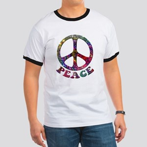 Jewelled Peace Symbol Ringer T