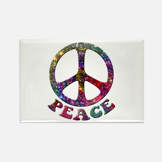 Jewelled Peace Symbol Rectangle Magnet