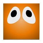 Orange Blob Eyes Tile Coaster