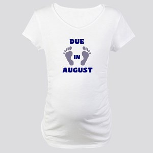 Due In August (blue feet/top) Maternity T-Shirt