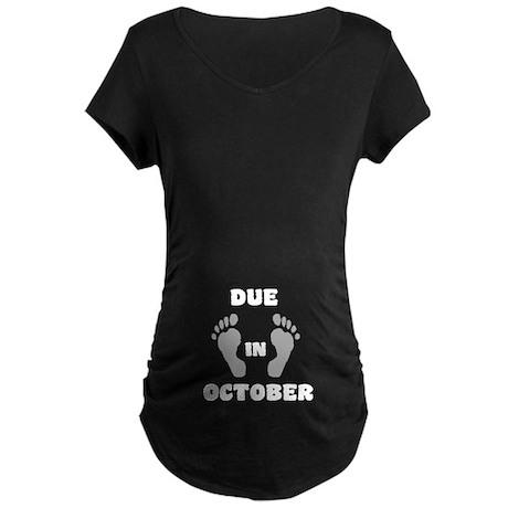 Due In October (belly) Maternity Dark T-Shirt