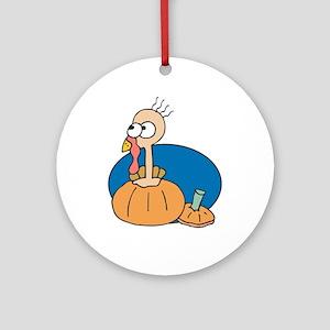 Cute Turkey in a Pumpkin Ornament (Round)