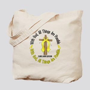 With God Cross LIVER CANCER Tote Bag