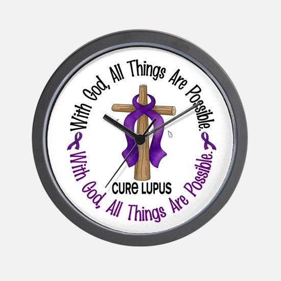 With God Cross LUPUS Wall Clock