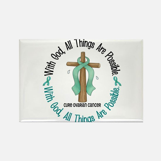 With God Cross OVARIAN CANCER Rectangle Magnet