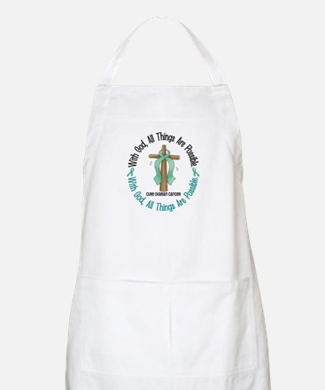 With God Cross OVARIAN CANCER BBQ Apron