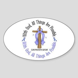 With God Cross PROSCANC Oval Sticker