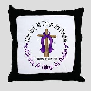 With God Cross SARCOIDOSIS Throw Pillow