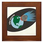 Killer Asteroid in Space Framed Tile