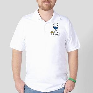 Reading Stick Figure Golf Shirt