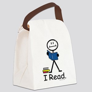 Reading Stick Figure Canvas Lunch Bag
