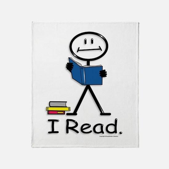 Reading Stick Figure Throw Blanket