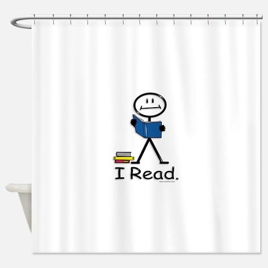Reading Stick Figure Shower Curtain