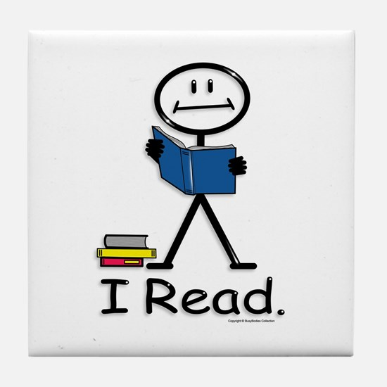Reading Stick Figure Tile Coaster