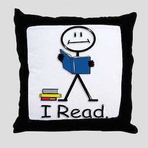 Reading Stick Figure Throw Pillow