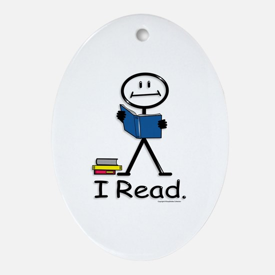 Reading Stick Figure Oval Ornament