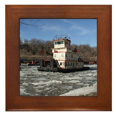 Towboat Rock Island, Framed Tile
