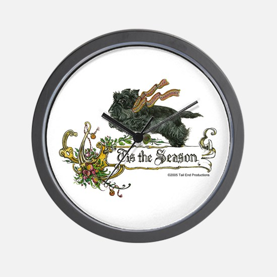 Scottish Terrier Season Wall Clock