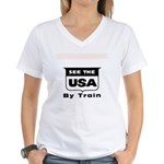 See The USA By Train ! Women's V-Neck T-Shirt