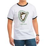 Irish Harp and Shamrock Ringer T