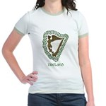 Irish Harp and Shamrock Jr. Ringer T-Shirt