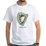 Irish Harp and Shamrock White T-Shirt