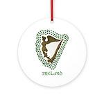 Irish Harp and Shamrock Ornament (Round)