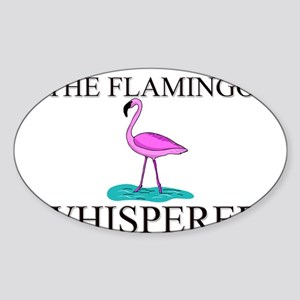 The Flamingo Whisperer Oval Sticker