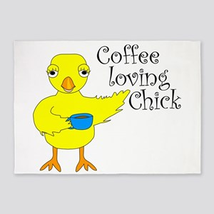Coffee Chick Text 5'x7'Area Rug