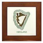 Irish Harp and Shamrock Framed Tile