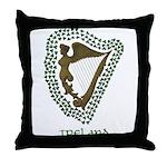 Irish Harp and Shamrock Throw Pillow