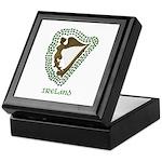 Irish Harp and Shamrock Keepsake Box