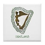 Irish Harp and Shamrock Tile Coaster
