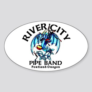 Piping/Drumming Dragon Oval Sticker