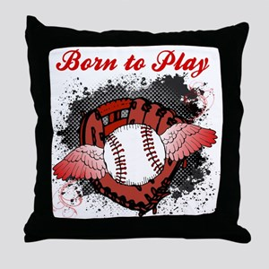 Born to Play Baseball Throw Pillow