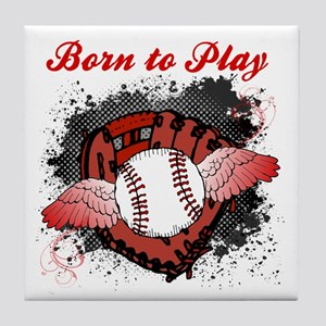 Born to Play Baseball Tile Coaster