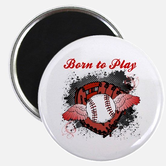 "Born to Play Baseball 2.25"" Magnet (100 pack)"