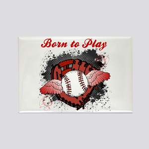 Born to Play Baseball Rectangle Magnet