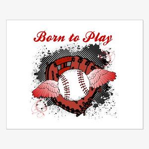 Born to Play Baseball Small Poster