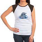 Happy Dolphin Women's Cap Sleeve T-Shirt