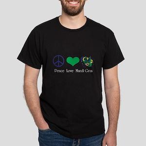 Peace Love Mardi Gras Dark T-Shirt